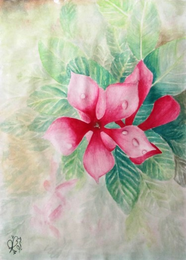 """Painting titled """"Flower"""" by Shahriar Aghakhani, Original Art, Watercolor"""