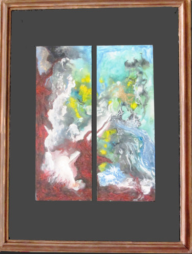 """Painting titled """"Abstract No. 143"""" by Shahriar Aghakhani, Original Art, Watercolor Mounted on Cardboard"""