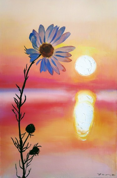 """Painting titled """"Two Suns"""" by Yanis Salimov, Original Art, Oil Mounted on Wood Panel"""