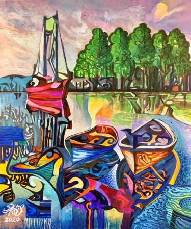 Boat Painting, acrylic, expressionism, artwork by Sam Wais