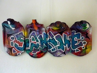 """Painting titled """"Tag sur bombe 1"""" by Saname, Original Art, Spray paint Mounted on Metal"""