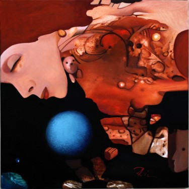 Painting, oil, surrealism, artwork by Rodica Miller
