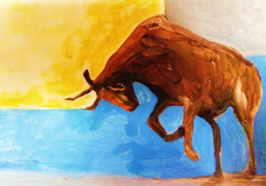 """Painting titled """"Playful Bull"""" by Blossom Art House, Original Art, Acrylic"""