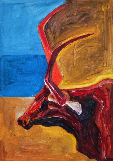 """Painting titled """"Playful Bull 02"""" by Blossom Art House, Original Art, Acrylic"""