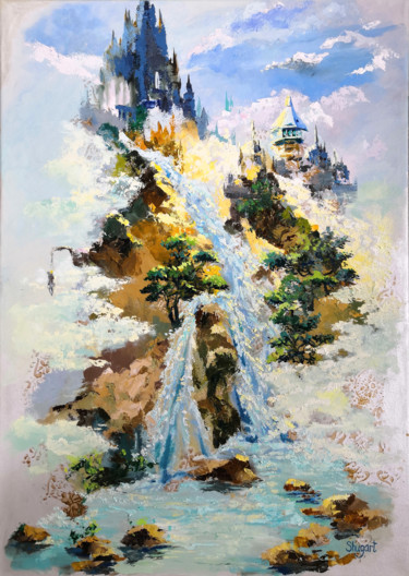 Mountainscape Painting, oil, abstract, artwork by Lena Shugart