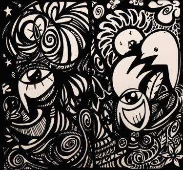 Drawing, ink, abstract, artwork by Acidisté