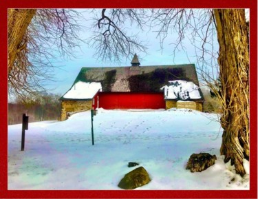 """Photography titled """"Red Barn with Snowf…"""" by Stephen D. Smith, Original Art, Digital Photography"""