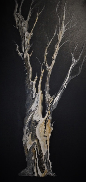 """Painting titled """"Golden marbled tree…"""" by Seg'S, Original Art, Acrylic Mounted on Stretcher frame"""