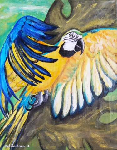 """Painting titled """"Tropical Parrot"""" by Selena Sashina, Original Art, Acrylic Mounted on Stretcher frame"""