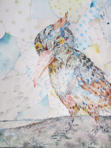 """Painting titled """"Serious Bird"""" by Sergey Kostin, Original Art, Watercolor"""