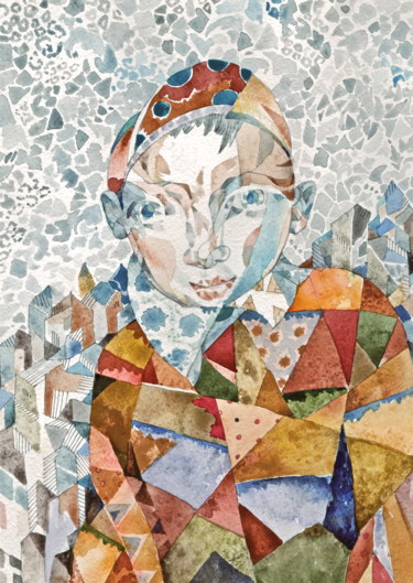 Color Painting, watercolor, cubism, artwork by Sergey Kostin