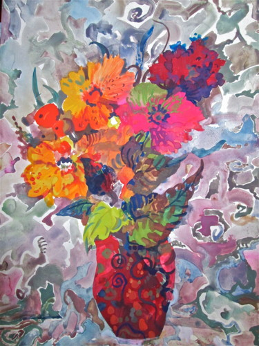 """Painting titled """"Red Flowers"""" by Sergey Kostin, Original Art, Watercolor"""