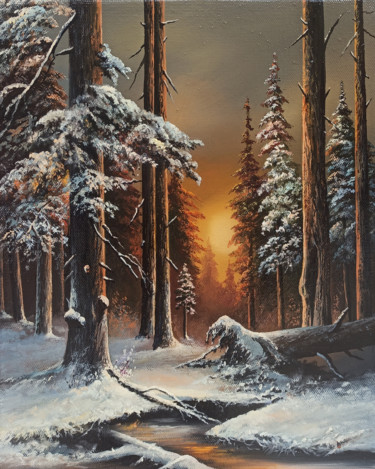 """Painting titled """"Winter in a forest…"""" by Sergey Miqayelya, Original Art, Oil Mounted on Stretcher frame"""