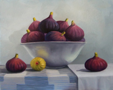 """Painting titled """"Still life with fig…"""" by Sergey Miqayelya, Original Art, Oil Mounted on Stretcher frame"""