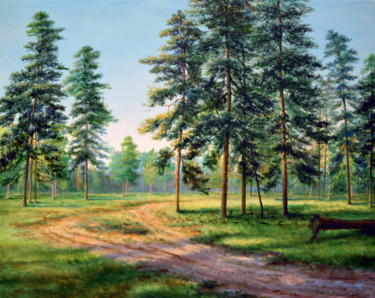 """Painting titled """"Pine Trees"""" by Sergey Lutsenko, Original Art, Oil Mounted on Stretcher frame"""
