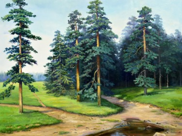 """Painting titled """"Pine trees."""" by Sergey Lutsenko, Original Art, Oil Mounted on Stretcher frame"""