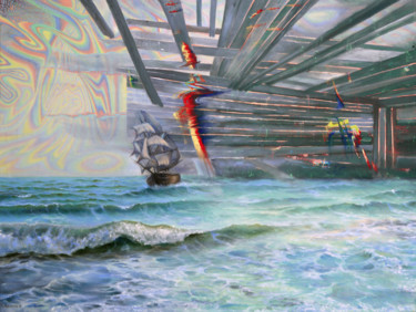 """Painting titled """"Destroying Barriers"""" by Sergey Lutsenko, Original Art, Oil Mounted on Stretcher frame"""
