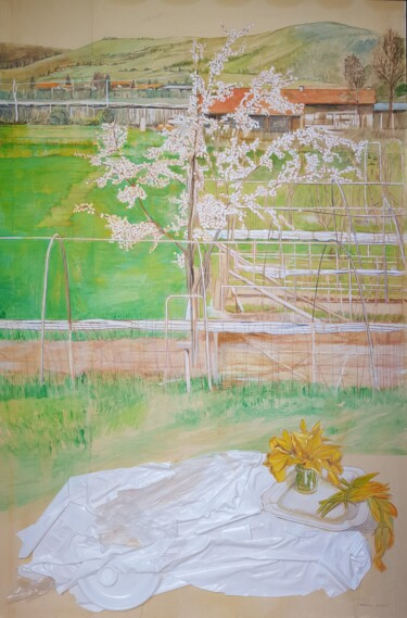 """Painting titled """"plum tree in bloom…"""" by Cartasso, Original Art, Acrylic"""