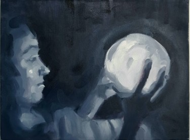 """Painting titled """"Holding a moon"""" by Sergiu Moise, Original Art, Oil Mounted on Stretcher frame"""