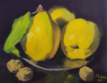 """Painting titled """"Quinces"""" by Sergiu Moise, Original Art, Oil Mounted on Stretcher frame"""