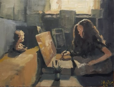 """Painting titled """"Artist atelier"""" by Sergiu Moise, Original Art, Oil Mounted on Stretcher frame"""