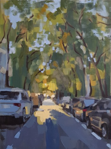 """Painting titled """"Bucharest street"""" by Sergiu Moise, Original Art, Oil Mounted on Stretcher frame"""
