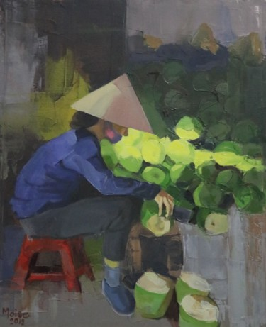 """Painting titled """"Vietnam coconut shop"""" by Sergiu Moise, Original Art, Oil Mounted on Stretcher frame"""