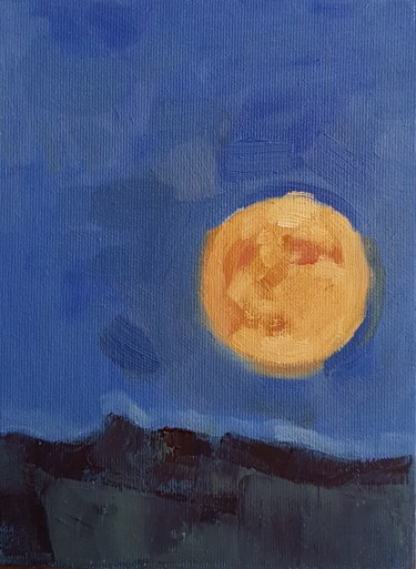 """Painting titled """"Moon rise over the…"""" by Sergiu Moise, Original Art, Oil Mounted on Stretcher frame"""