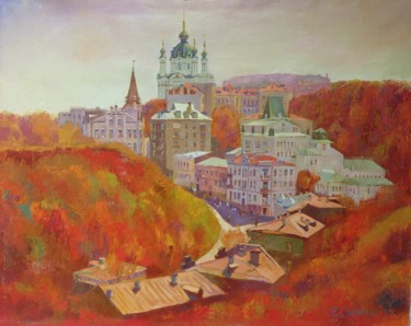 """Painting titled """"Andreevsky descent.…"""" by Serhiy Vutyanov, Original Art, Oil"""