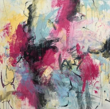 """Painting titled """"Pink Modern Art Col…"""" by Serhii Sakharov, Original Art, Acrylic Mounted on Stretcher frame"""
