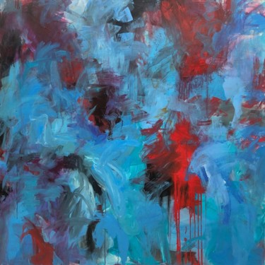 """Painting titled """"Abstract Blue Paint…"""" by Serhii Sakharov, Original Art, Acrylic Mounted on Stretcher frame"""