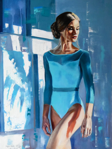 """Painting titled """"The turquoise morni…"""" by Serghei Ghetiu, Original Art, Oil Mounted on Stretcher frame"""