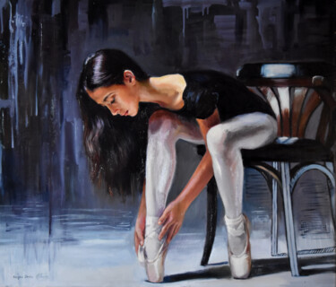 """Painting titled """"The angel of ballet"""" by Serghei Ghetiu, Original Art, Oil Mounted on Stretcher frame"""