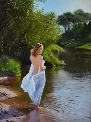 """Painting titled """"At the forest river…"""" by Serghei Ghetiu, Original Art, Oil Mounted on Stretcher frame"""
