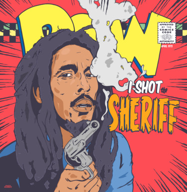 """Drawing titled """"I Shot The Sheriff"""" by Sexy Rabbit, Original Art, Digital Photography"""