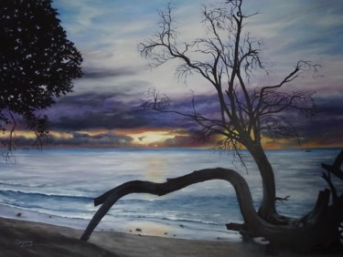 """Painting titled """"Blue Barbados Sunset"""" by Suzanne B Gibbs, Original Art, Oil"""