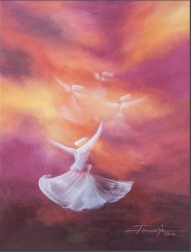 """Painting titled """"Whirling Dervishes 2"""" by Shafique Farooqi, Original Art, Oil"""