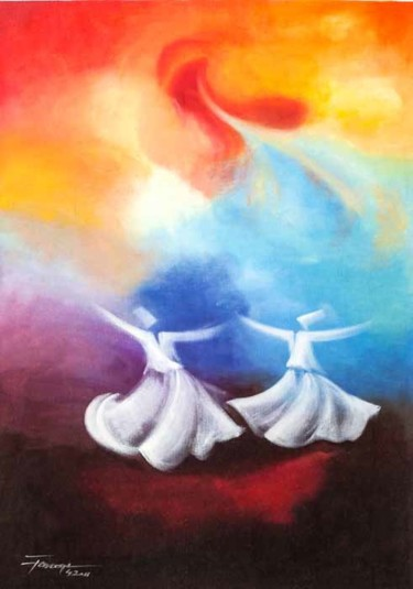 """Painting titled """"Whirling Dervishes 3"""" by Shafique Farooqi, Original Art, Oil"""