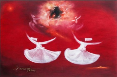 """Painting titled """"Whirling Dervishes 6"""" by Shafique Farooqi, Original Art, Oil"""