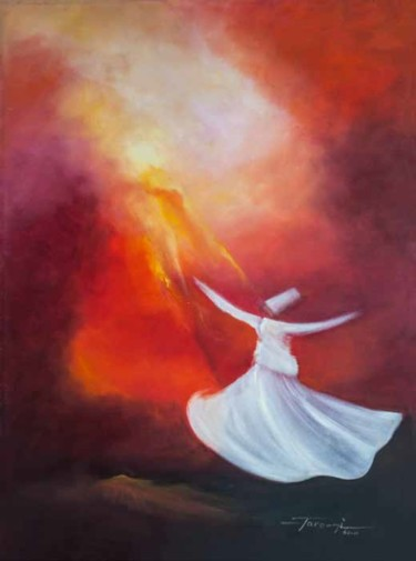 """Painting titled """"Whirling Dervishes 7"""" by Shafique Farooqi, Original Art, Oil"""
