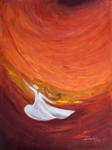 """Painting titled """"Whirling Dervishes 8"""" by Shafique Farooqi, Original Art, Oil"""
