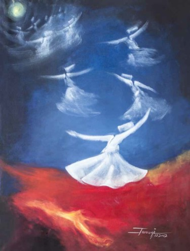"""Painting titled """"Whirling Dervishes8"""" by Shafique Farooqi, Original Art, Oil"""