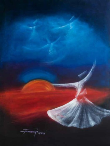 """Painting titled """"Whirling Dervishes9"""" by Shafique Farooqi, Original Art, Oil"""
