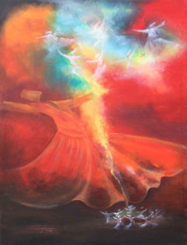 """Painting titled """"Whirling Dervishes10"""" by Shafique Farooqi, Original Art, Oil"""
