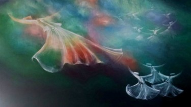 """Painting titled """"Whirling Dervishes11"""" by Shafique Farooqi, Original Art, Oil"""