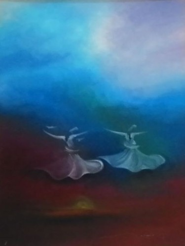 """Painting titled """"Whirling Dervishes12"""" by Shafique Farooqi, Original Art, Oil"""