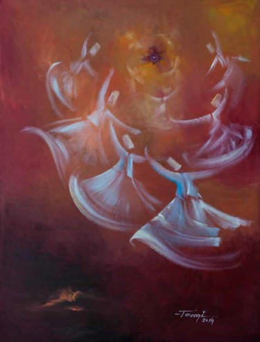 """Painting titled """"Whirling Dervishes13"""" by Shafique Farooqi, Original Art, Oil"""
