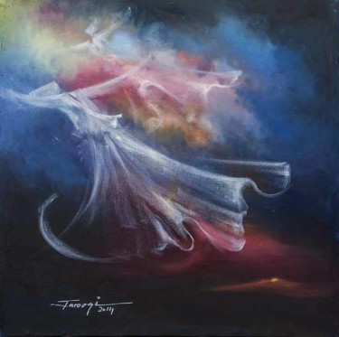 """Painting titled """"Whirling Dervishes14"""" by Shafique Farooqi, Original Art, Oil"""