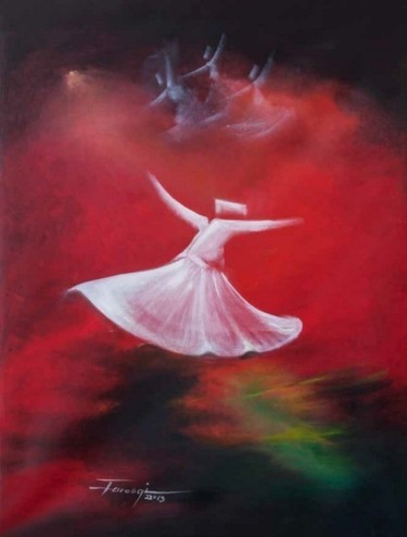 """Painting titled """"Whirling Dervishes16"""" by Shafique Farooqi, Original Art, Oil"""