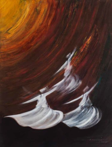 """Painting titled """"Whirling Dervishes17"""" by Shafique Farooqi, Original Art, Oil"""